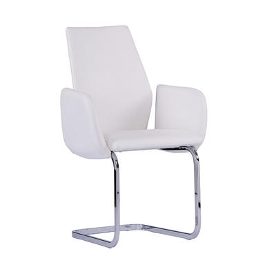 Arm chair Metal Frame chrome Upholstered white pattern PU Metal arm chair Guanxin Home Furniture