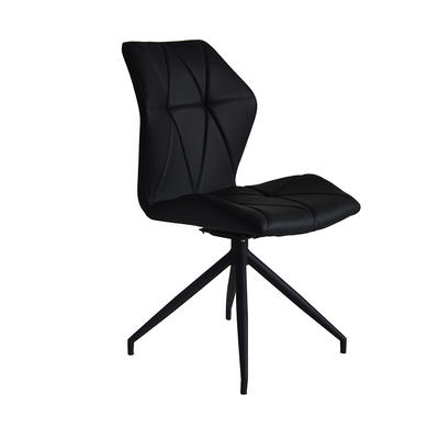 Metal chair black powder coating base Upholstered dining chair with black PU comfortable turnable chair Guanxin Furniture  DD6019-4RN