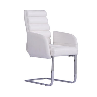 Arm chair PU cover Metal Frame Upholstered white pattern PU Dining Chair Guanxin Home Furniture