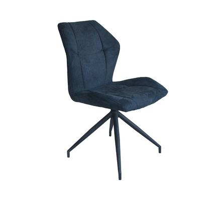 Metal chair black powder coating base Upholstered dining chair with vinatge blue fabric comfortable turnable chair Guanxin Furniture  DD6819-4RN
