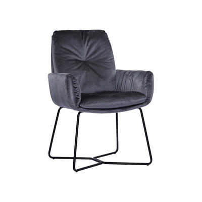 Dining Chair in Greyish-green Velvet with Black Gloss Powder Coating Round Tube Guanxin Furniture