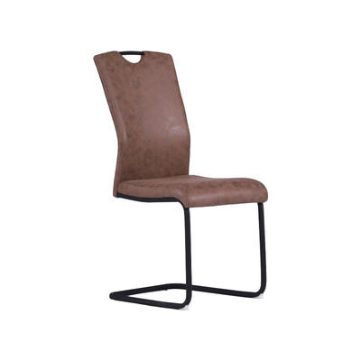Dining Chair in Brown Fabric with Black Stand Tube Guanxin Furniture