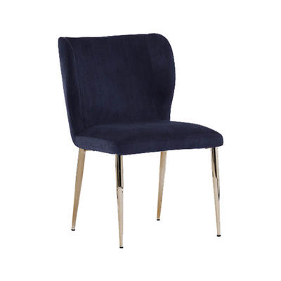Dining Chair in Blue fabric with Gold Round Tube Legs Guanxin Furniture